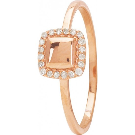 BAGUE OR ROSE CARREE ET ENTOURAGE DIAMANTS