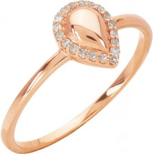 BAGUE POIRE OR ROSE ET ENTOURAGE DIAMANTS
