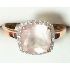 BAGUE OR ROSE QUARTZ ROSE DIAMANTS BC2349QR/DTS