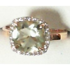 BAGUE OR QUARTZ VERT DIAMANTS BC2349QV/DTS