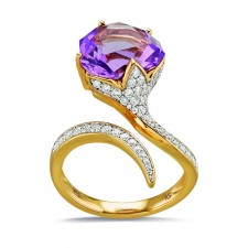 BAGUE OR AMETHYSTE ET DIAMANTS BC2308AM/BTS