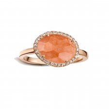 Bague ORRose - Aventurine Orange et Diamants
