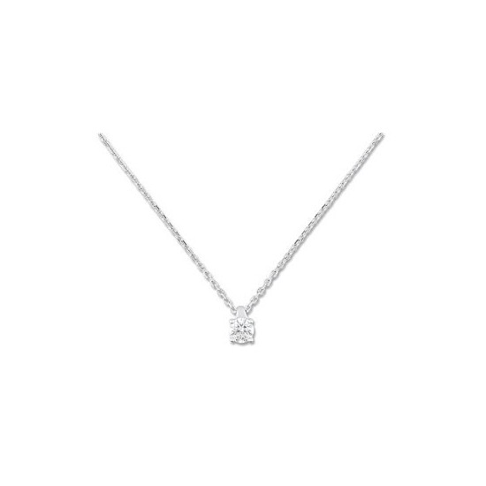 Collier diamant solitaire - Or blanc