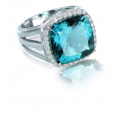 Bague ORBlanc - Topaze Bleue /Diamants