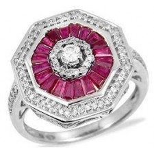 Bague ORblanc -Rubis/Diamants