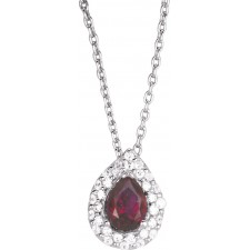 COLLIER ARGENT RHOD.TOP.TRAITEE ROUGE&OZ