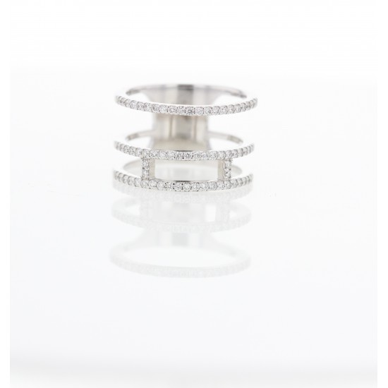 Bague 3 rangs - Or Blanc - Diamants