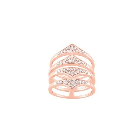 BAGUE OXYDE DE ZIRCONIM PLAQUE OR ROSE