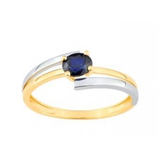 BAGUE SAPHIR 2 RANGS BICOLORE