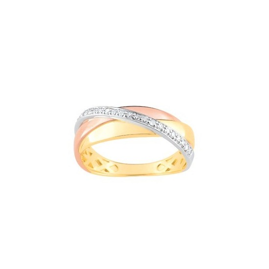 BAGUE TRIOCOLORE RUBANS ET DIAMANTS