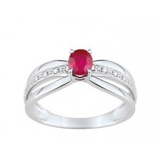BAGUE 3 BRANCHES DIAMANTS ET RUBIS