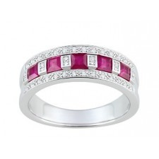 BAGUE ALTERNANCE RUBIS ET DIAMANTS