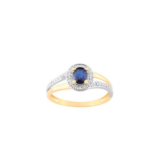 BAGUE 2 RANGS BICOLORE. SAPHIR OVAL ET DIAMANTS
