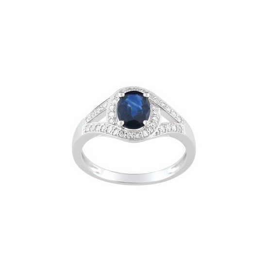 BAGUE 2 RANGS. SAPHIR OVAL ET DIAMANTS