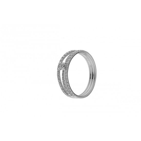 BAGUE SOLITAIRE DIAMANTS 3 RANGS