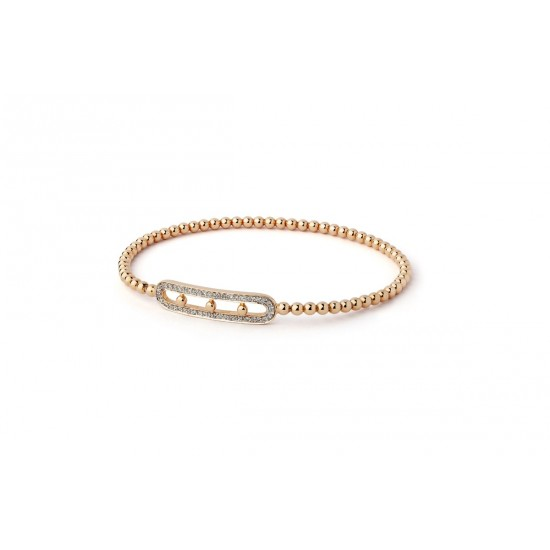 Bracelet Rigide Trio de diamants et Or rose