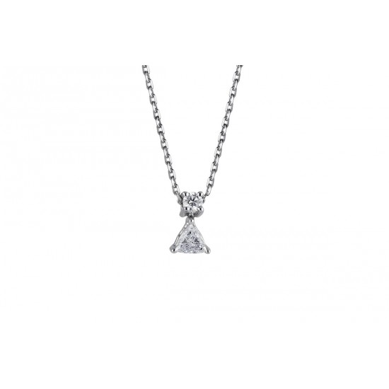 COLLIER TRIANGLE DIAMANTS ET OR BLANC
