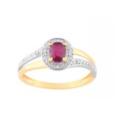BAGUE RUBIS 0.47+DIAMANT 0.024 BIC OR750