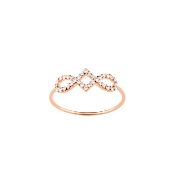 BAGUE OXYDE DE ZIRCONIUM OR ROSE OR375