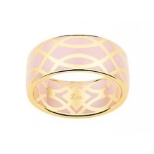 BAGUE LAQUE ROSE PALE OR JAUNE OR375