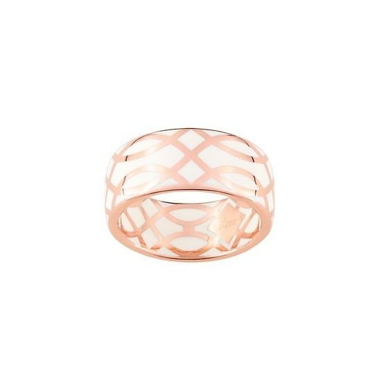 BAGUE LAQUE BLANC CASSE OR ROSE OR375