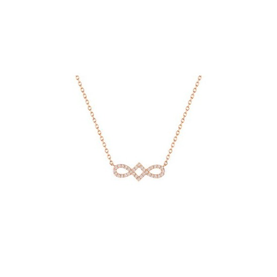 COLLIER 42CM OXYDE ZIRC. OR ROSE OR375