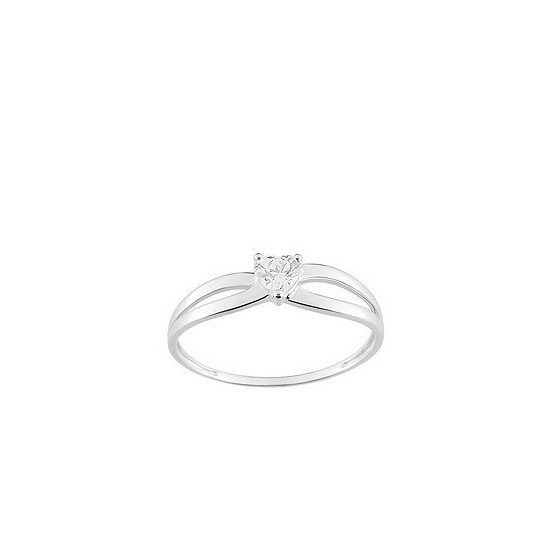 Solitaire oxyde coeur et or blanc 18k