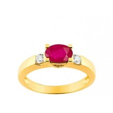 Solitaire Rubis or jaune 18k et deux diamants
