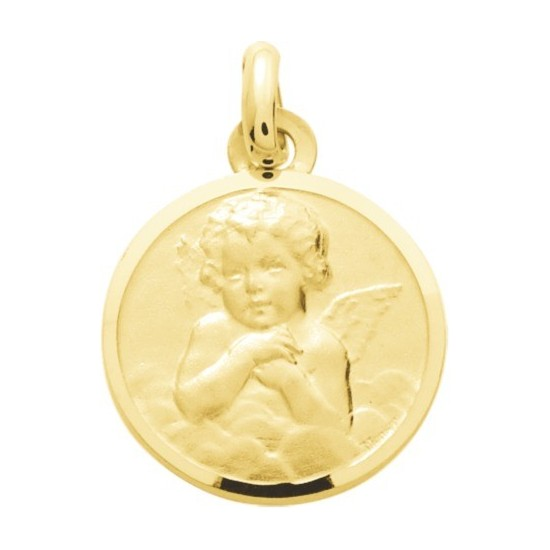 Médaille ronde ange Mate or jaune