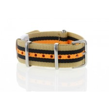 Bracelet montre Nato beige noir orange